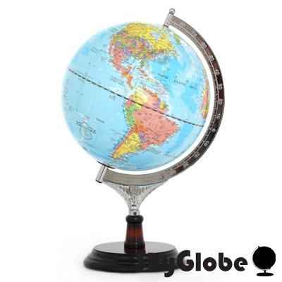 10吋行政藍色海洋木質地球儀(中英文對照)(附燈)