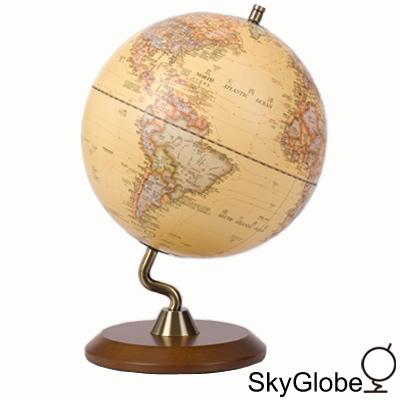 10吋仿古木質底座立體地球儀