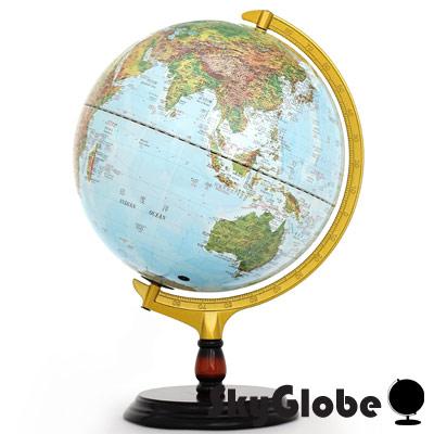 12吋地形行政木質地球儀(中英文對照)(附燈)