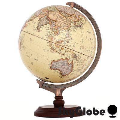 12吋古典仿古木質地球儀(中英文對照)(附燈)