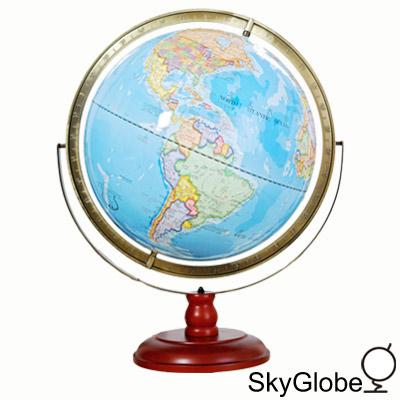 17吋超大行政圖雙環立體浮雕地球儀